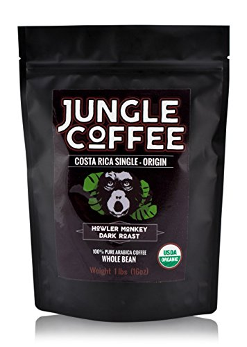 Jungle Coffee Beans Costa Rican Organic Dark Roast Whole Bean 1 lb Gourmet Best Coffee Beans 1 Pound Fresh Roasted Arabica Coffee (Half The Caf Keurig Cups compare prices)