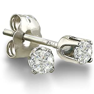 1/5ct Round Diamond Stud Earrings in 10K White Gold ( J/K I2-I3)