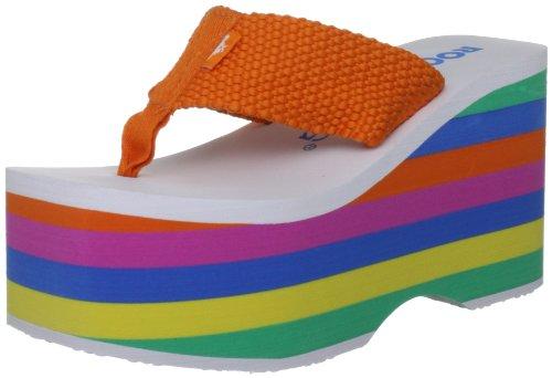 a9573c4c5c9c8f Rocket Dog Women s Big Top Orange Webbing Stripe Thong Sandals 7 UK ...