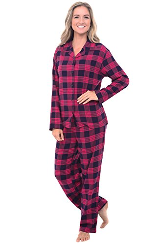 Del Rossa Women's Flannel Pajamas, Long Cotton Pj Set, Large Classic Pink Plaid (A0509Q25LG)