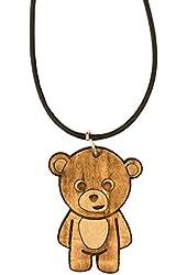 Necklace - Teddy Bear - Raw Wood