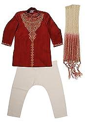 Viaan Retail Boys' Silk Kurta Pyjama Set (VKPM10020415_3, Maroon, 6-7 Years)