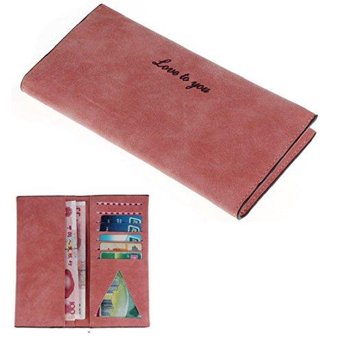 Towallmark(TM)Retro Women Pumping Buckle Matte Leather Long Wallet Card Holder Purse (Watermelon)