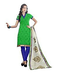 Radhika Shopping Women's Cotton Unstitched Dress Material (lucky-004_Green_Free Size)