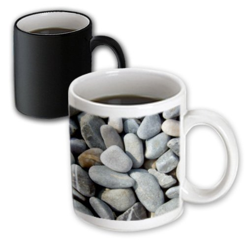 Inspirationzstore Graphic Textures - Dry Beach Pebbles Texture Photo - Little Stones Natural Rocks Nautical Grey Gray Brown Nature - 11Oz Magic Transforming Mug (Mug_157799_3)