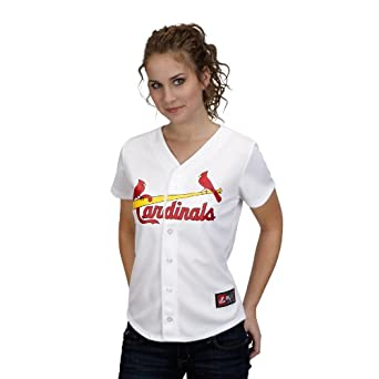 MLB St. Louis Cardinals David Freese White Home Replica Baseball Ladies Jersey, White by Majestic