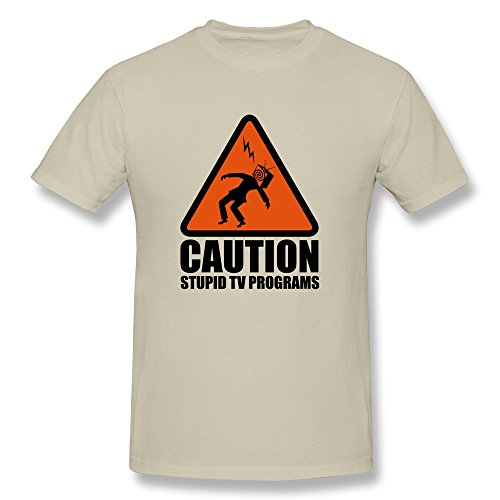 Nasy Men'S Caution Stupid Cotton Short Sleeve T Shirt Xl Natural