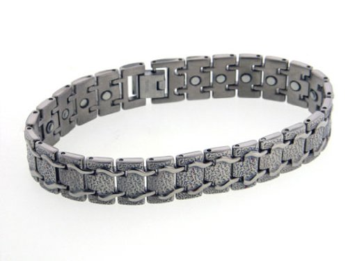 Mens Train Track Magnetic Therapy Titanium Metal Jewelry Link Bracelet, 8″