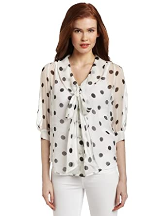 Karen Kane Women's Blouson Sleeve Bow Shirt, Multi Dot, Medium