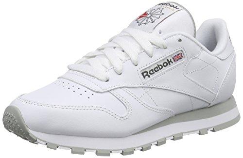 Reebok Classic Leather, Scarpe da Ginnastica Basse Unisex - Adulto, Bianco (Int-White/Lt. Grey), 36 EU