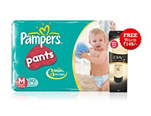 Pampers Medium Size Diaper Pants With Free Olay Total Effects Trial Pack