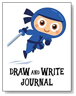 Draw and Write Journal For Boys - Cute little blue ninja makes an exciting cover for this draw and write journal for younger boys.