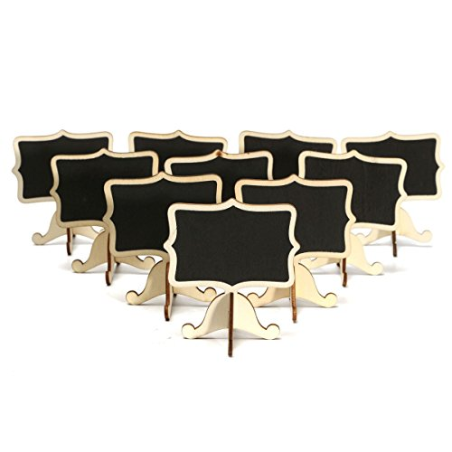 Coolrunner 10Pcs Blackboards Message Number Tag Wooden Chalkboard Wedding Party Table Decorative Rectangle Shape