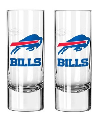 NFL Bills 2.5 oz. Tall Shot Glasses | Buffalo Bills Cordial Shooters - Set of 2