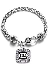 13.1 Half Marathon Runners Classic Silver Plated Square Crystal Charm Bracelet.