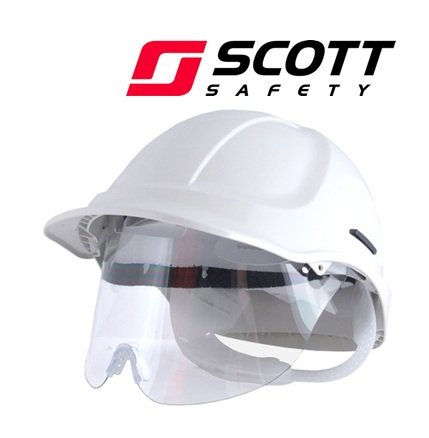 SCOTT Protector Style 600 Vented Safety Helmet Hard Hat + HXSPEC Visor- White