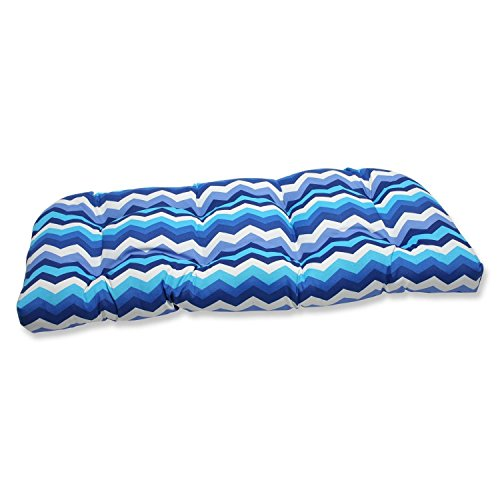 """44"""" Rayas Azules Blue, Navy and White Chevron Striped Outdoor Patio Tufted Wicker Loveseat Cushion"""