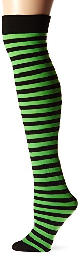 Fever Women's Opaque Hold-Ups and Striped In Display Box, Black/Green, One Size