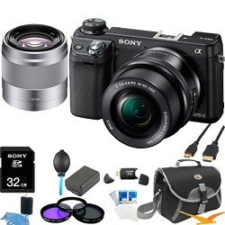 Sony NEX-6L/B NEX6 NEX-6 NEX-6L 16.1 MP Compact Interchangeable Lens Digital Camera with 16-50mm Power Zoom Lens and 3-Inch LED (Black) + Sony 50mm f/1.8 Lens ULTIMATE BUNDLE with 32GB High Speed Card, Spare Battery, Deluxe Filter Kit+ More!