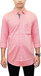 AA' Southbay Men's English Red 100% Cotton Oxford Long Sleeve Party Casual Shirt