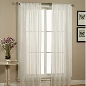 2 Piece Solid White Sheer Window Curtains/drape/panels/treatment size 60