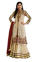 Khoobee Presents Embroidered Georgette Lehenga With Coti Style.(Beige,Maroon)