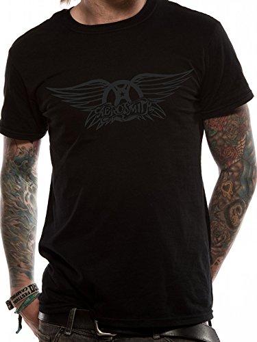 Aerosmith Nero su nero ali Logo T-Shirt (Nero)