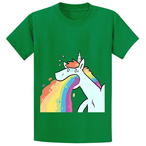 Andy Rainbow Unicorn Cute Youth Crew Neck Personalized T Shirt Green
