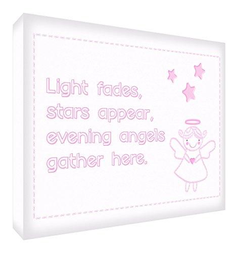 """Feel Good Art - Telo A1 in canvas per la cameretta del bambino """"Night Fades, Stars Appear, Evening Angels Gather Here"""", colore Rosa"""
