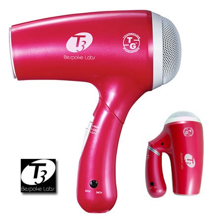 T3 Tourmaline Bespoke Labs Overnight Ltd Edition Hot Pink Ionic Travel Hair Dryer - Dual Voltage