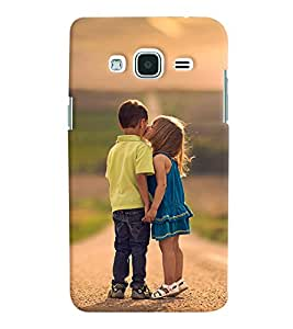 Printvisa Girl And A Boy Childhood Affection Back Case Cover for Samsung Galaxy J2 (2016)