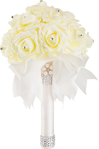 WorldofWeddings, Handmade Crystal Pearl Silk Rose Bridal Wedding Bouquet (White)