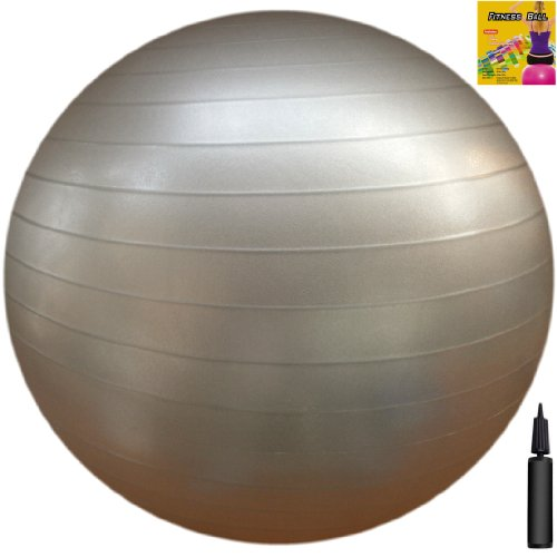 Fitness Ball: Silver, 30in/75cm Diameter, Includes 1 Ball +1 Pump + 1 Page Instruction Chart. No instructional DVD. (Exercise Gym Swiss Stability Ball)