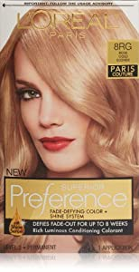 Oreal Preference Paris Couture Hair Color, 8RG Rose Gold Blonde ...