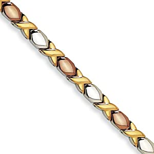 Stainless Steel Gold and Rose IP-plated Fancy Bracelet