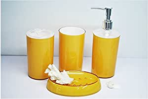 Yellow 4 piece set acrylic bathroom for Yellow bathroom accessories sets