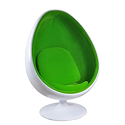 Home Elements White Shell Velvet Oval Chair, Green