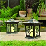 2 Solar Candle Lanterns Garden Lights – Bronze
