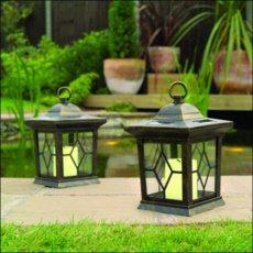 2 Solar Candle Lanterns Garden Lights - Bronze