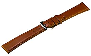 Classic Genuine Calsfkin Smooth Finish Watch Band - 19mm Tan (Light Brown)