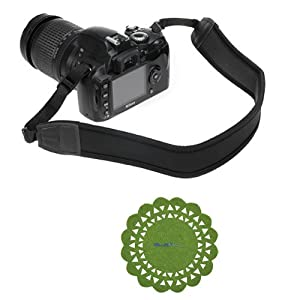 GTMax Black Anti-Slip Neoprene Camera shoulder/Neck Strap Belt + Cup Pad for Canon SX50 HS, SX500 IS, G15, 6D, XT XTi XS XSi T1i T2i T3i T3 T4i T5i SL1; Nikon P520 L820 D5200 D3200 D5100 D800 D4; Pentax Q10, X-5 and Sony Fuji Olympus Panasonic SLR Cameras