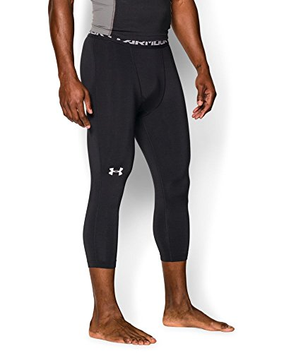 Under Armour Men's HeatGear Armour ¾ Compression Leggings, Black/Steel, Small