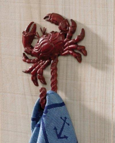 Coastal Nautical Red Crab Single Hook Towel Wall Hanger front-44576