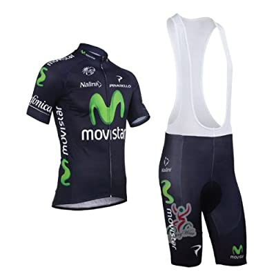 New Styles Short Sleeve Bicycle Cycling Jersey & Bib Shorts Set Coolmax Padding Perfect Perspiration Breathable Team Movistar (Size : L)