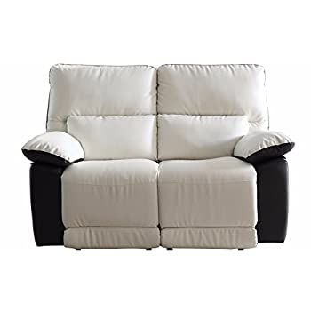Modern Two Tone Bonded Leather Oversize Recliner Living Room Set (2 Seater)