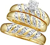 10k Yellow Gold Round Diamond Trio Matching His Hers Wedding Bridal Engagement Ring Band Set .07 Ct.t.w.