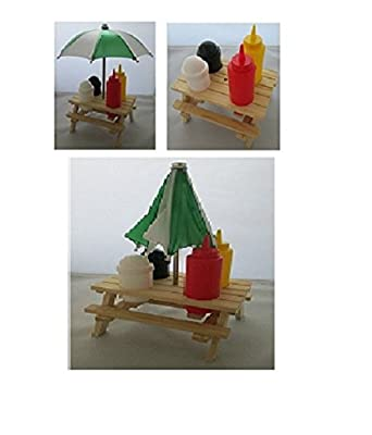 Condiment Holder Picnic Bench Umbrella Set Salt Pepper Sauces Wooden Outdoor New