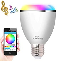 Smart Bluetooth Bulb,Likisme® Smart Bluetooth Wireless Multicolored LED Light Bulb with Speaker, for Apple iPhone, iPad and Android Phones(white)
