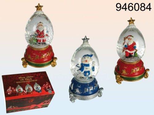 Schneekugel Glas mit Polyresin Schneemann und Nikolaus und mit Spieluhr sortiert 20x10cm, 6 Stück