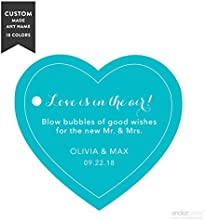 Andaz Press Personalized Wedding Bubbles Favor Gift Tags Heart 30-Pack - Custom Made Any Name